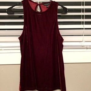 Velvet maroon tank top with open back